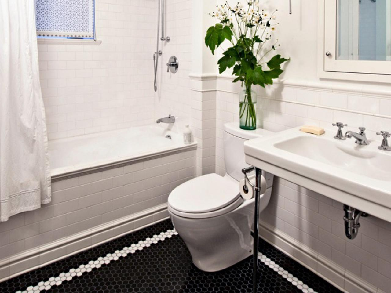 23 nice ideas and pictures of basketweave bathroom tile for Black and white tile floors