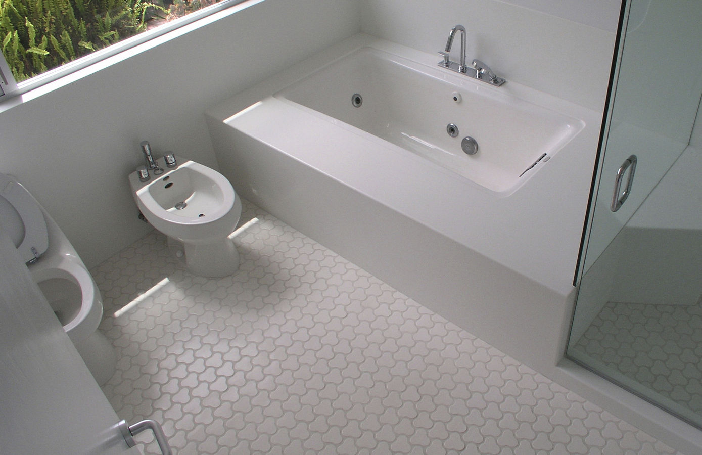 bathroom-exciting-vintage-bathroom-tile-patterns-cool-floor-ideas-with-white-ceramic-pattern-floor-tile-bathroom-and-white-corner-rectangular-bathtub-plus-modern-white-toilet-as-well-as-bathroom-tile