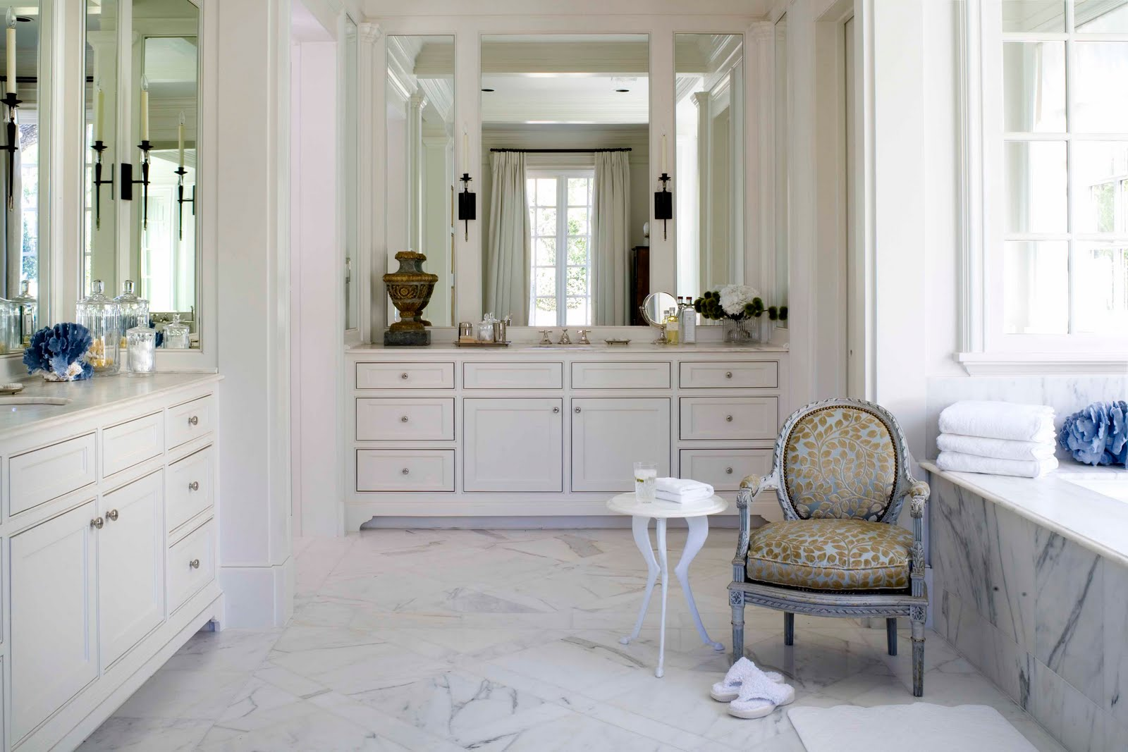bathroom-fancy-hgtv-bathroom-remodeling-ideas-with-white-granite-floor-and-bathtub-cover-wooden-foot-stool-also-vintage-upholstered-chair-with-leopard-fabric-pattern-top-hgtv-bathroom-remodeling-idea