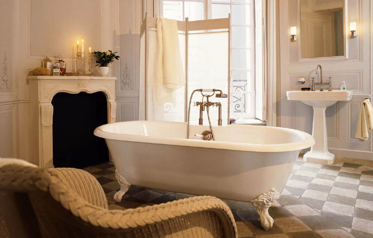 bathroom-fantastic-and-antique-clawfoot-tub-bathroom-design-ideas-with-fireplace-and-mantel-with-candle-and-aroma-therapy-bottle-black-and-white-checker-floor-tiles-and-rattan-upholstered-chair-sleek