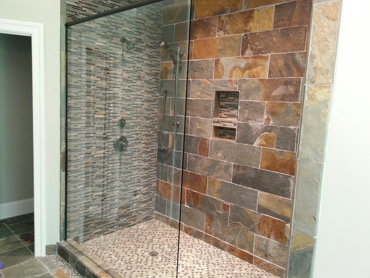 bathroom-gorgeous-bathroom-design-idea-with-shower-stall-designed-with-grey-mosaic-and-grey-brown-stone-tile-wall-design-plus-mosaic-shower-pan-combine-with-glass-door-and-natural-stone-tile-flooring