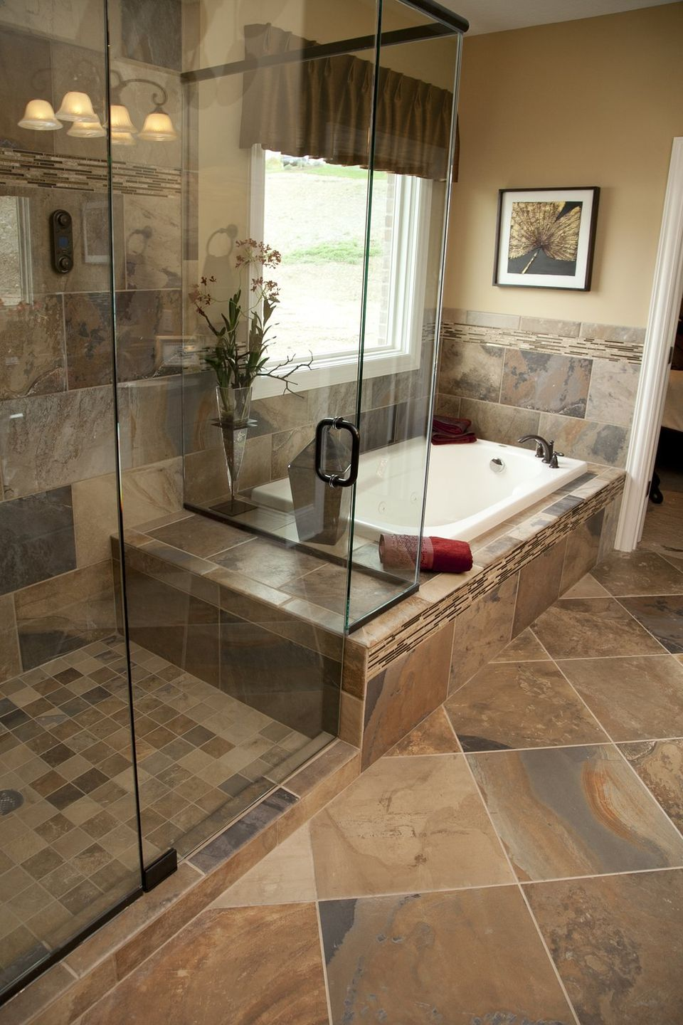 33 stunning pictures and ideas of natural stone bathroom for Shower room flooring ideas