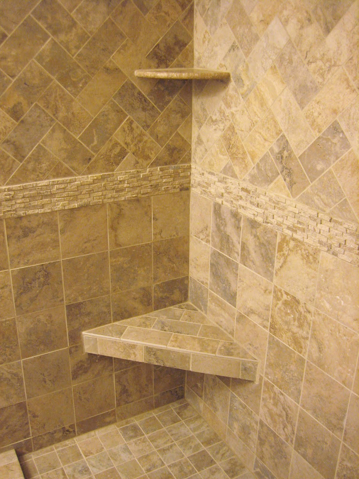Shower Wall Tile Design love everything in this tub insert neutral warm tile with accent love everything in this tub insert neutral warm tile with accent strips shelf Bathroom Inspiration Immaculate Corner Caddy Bath Over Small