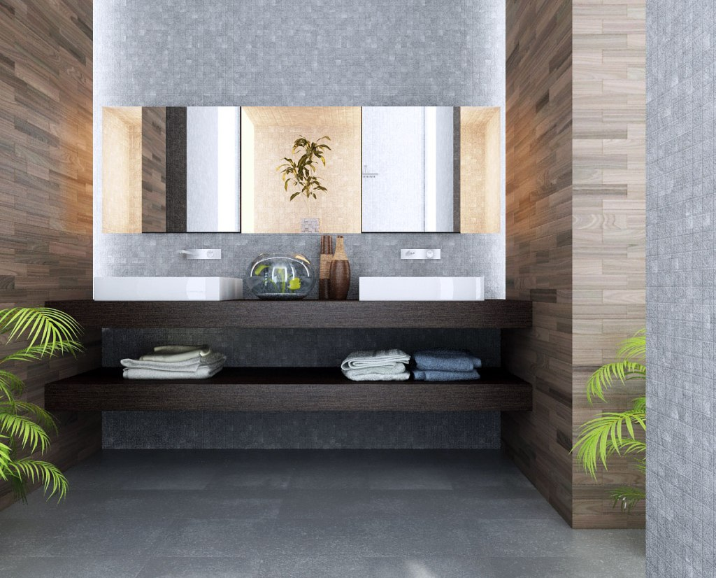 bathroom-outstanding-bathroom-design-with-yellow-bathroom-wall-tile-ideas-grey-marble-flooring-intimating-big-mirror