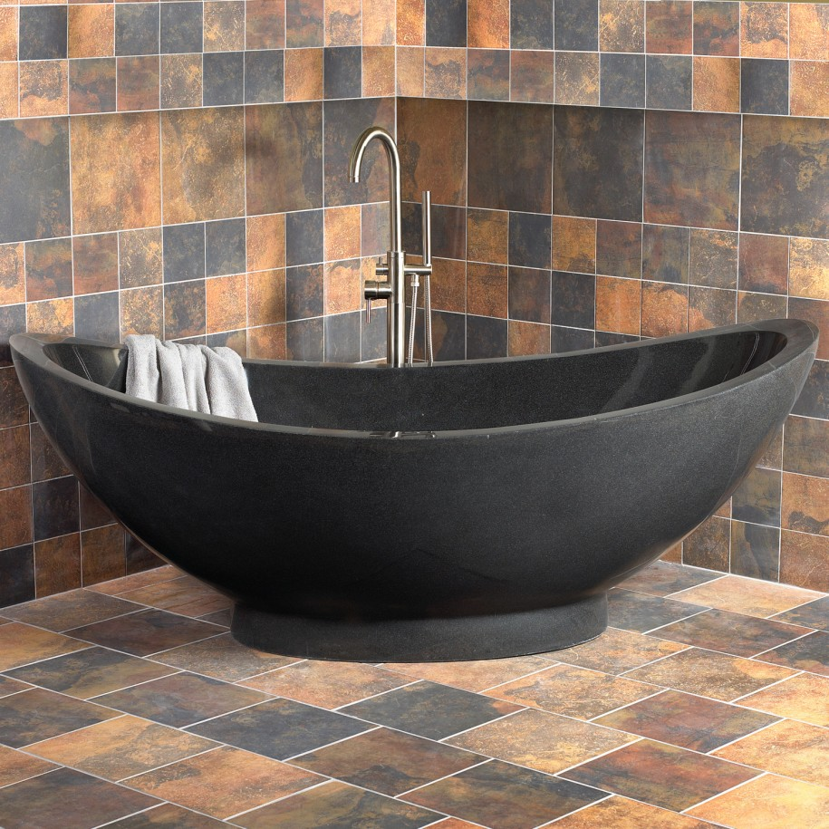 Black Stone Bath : -amazing-black-polished-natural-stone-bathtub-in-chic-bathroom ...