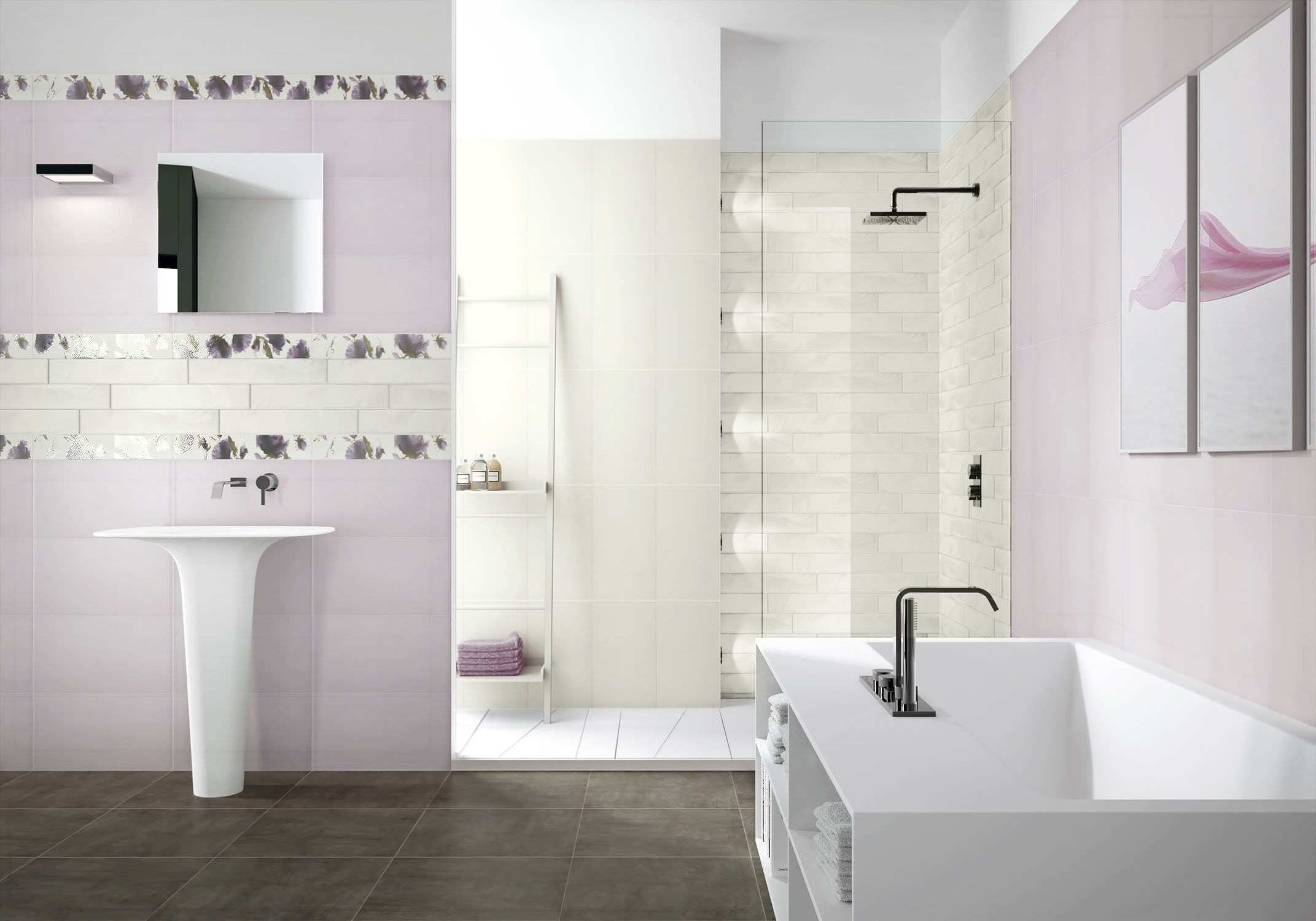 Modern bathroom wall tile designs -  Bathrooms Beautiful Pink And Beige Shades Bathroom Plain