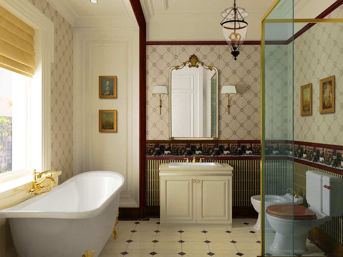 beautiful-interior-bathroom-design-with-ceramic-floor-and-clawfoot-tub-with-golden-legs-and-faucet-and-traditional-toilet-and-bidet-with-wallpaper-and-border-for-the-wall