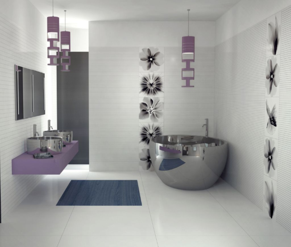 ... Comfortable Bathroom With Contemporary Tiles ...