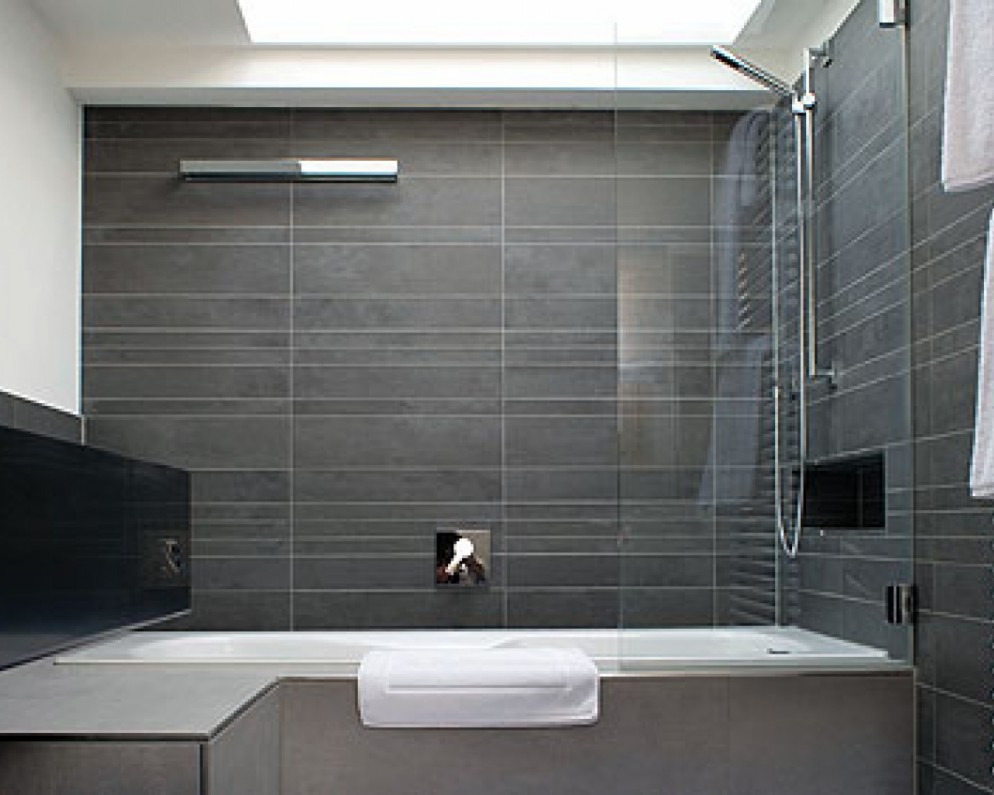 Small Bathroom Gray Tile Bathroom Design Ideas
