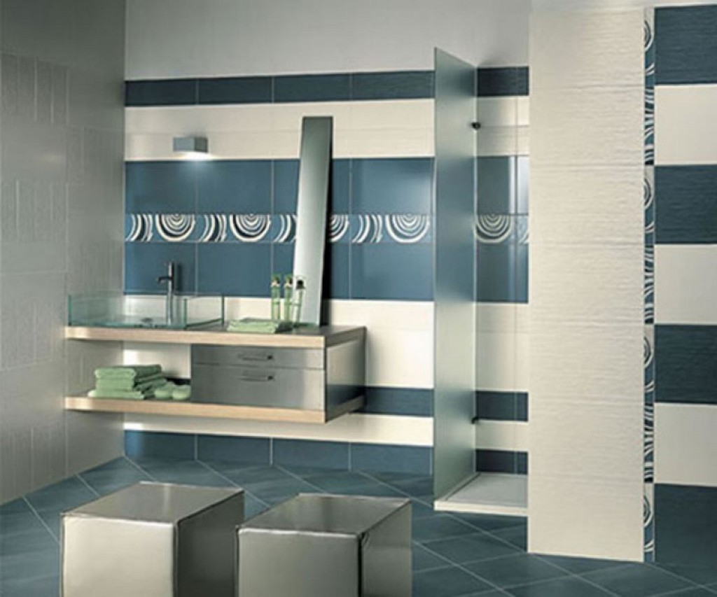 Bathroom tiles texture - Cool Contemporary Style Bathroom Decorations Design Idea White