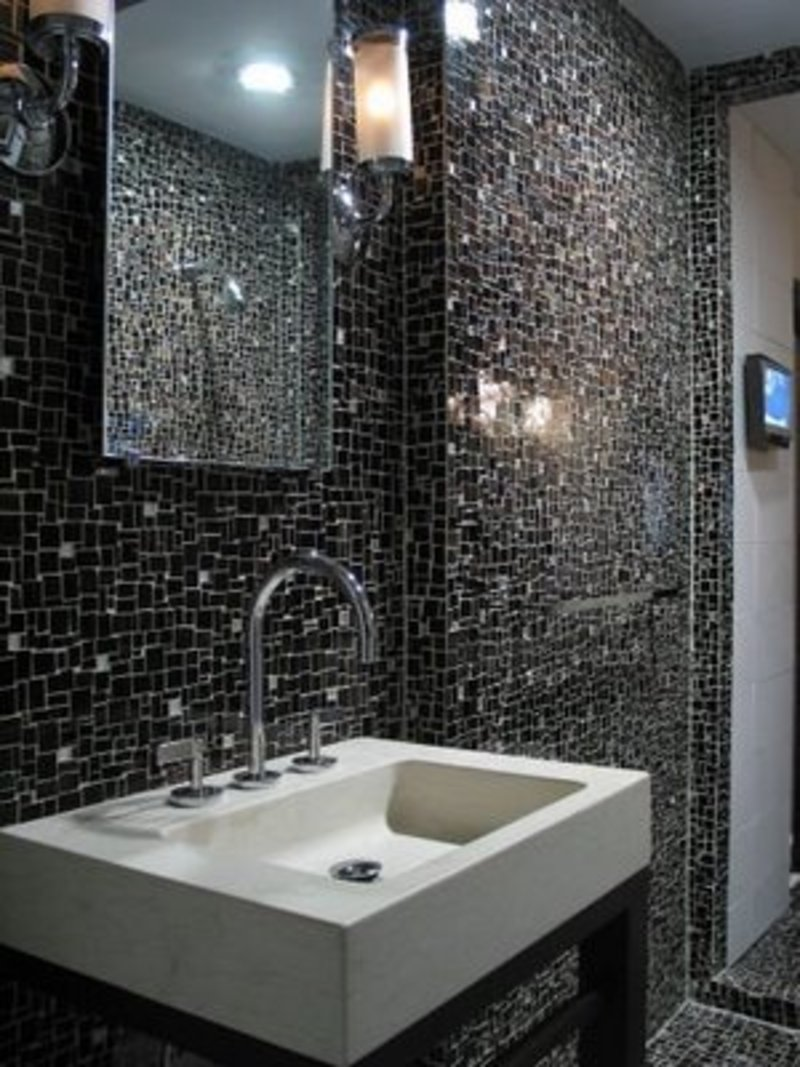 Luxury Balanced By The Clean White Square Tiling And Black Finish Of The Walls, This Ornately Detailed Star Design Brings Gorgeous Elegance To The Room This Minimal Bathroom Creates Interest With The Unexpected Combination Of Black Hexagon Tile