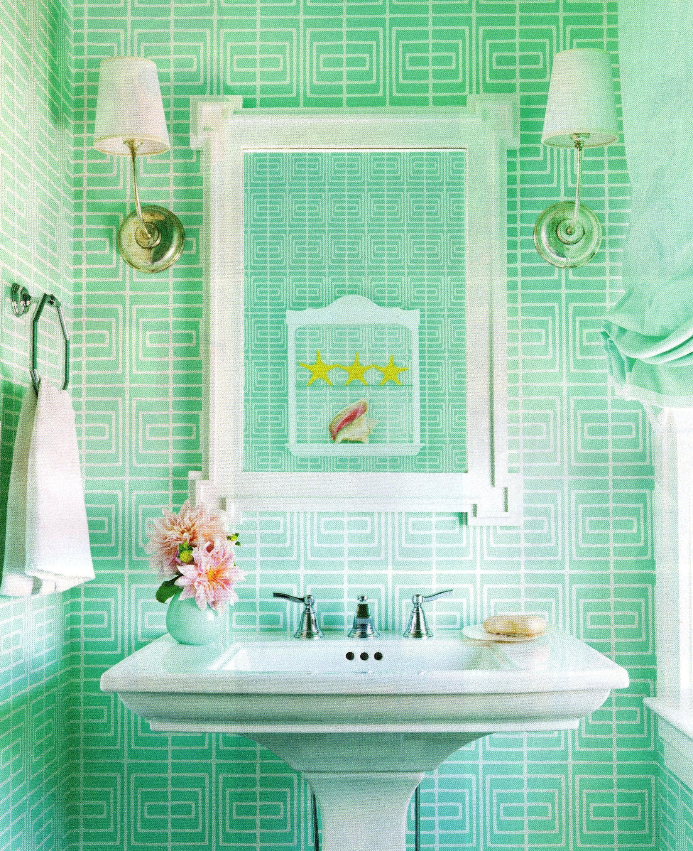 decoration-bathroom-beautiful-very-small-teal-bathroom-design-with-white-porcelain-vintage-pedestal-sink-added-wall-shade-lights-fixtures-and-towel-bar-decors-elegant-teal-bathroom-color-styles-and