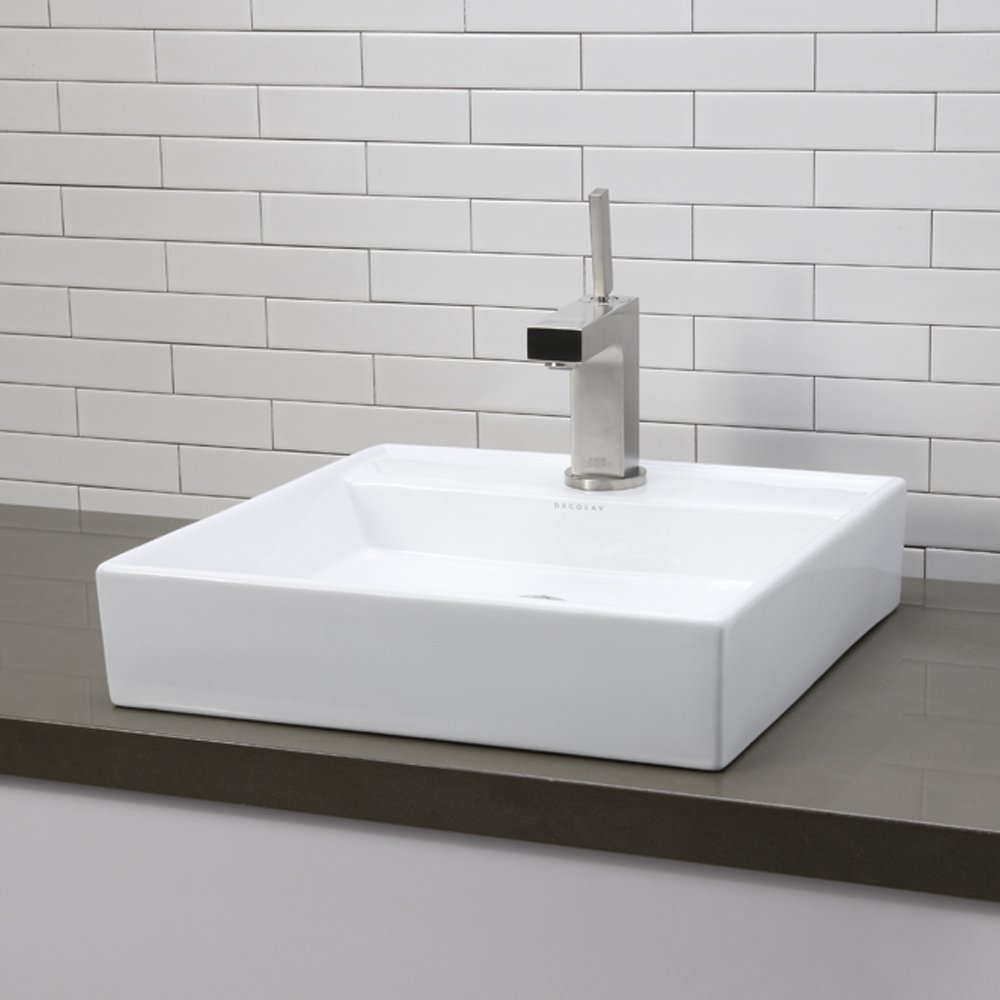 enchanting-modern-white-bathroom-decoration-using-modern-l-shape-chrome-bathroom-sink-faucets-including-square-white-ceramic-low-profile-vessel-sinks-and-white-brick-tile-bathroom-wall