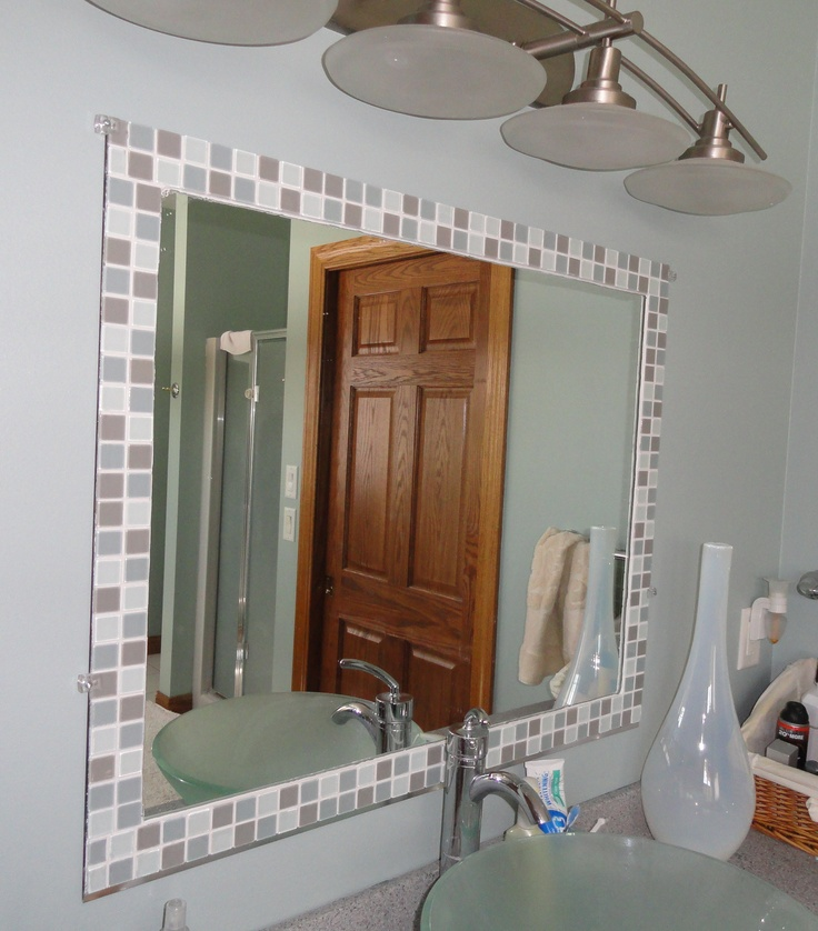 31 Ideas Of Using Mosaic Tile Around Bathroom Mirror