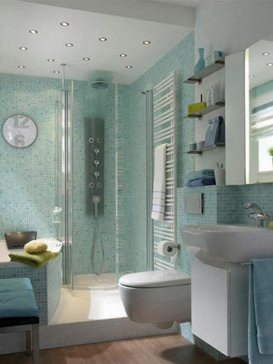 floating-toilet-also-ultra-modern-glass-shower-enclosure-and-blue-mosaic-backsplash-tile-in-cool-small-bathroom-design