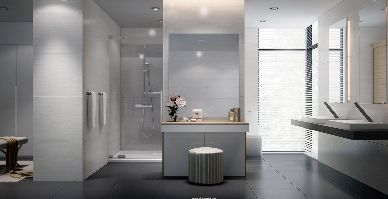 floor-bathroom-impressive-light-grey-bathroom-design-including-fit-vinyl-floors-plus-glass-shower-door-and-towels-hooks-also-granite-counter-top-with-double-washbasin-large-mirror-tiles-for-walls