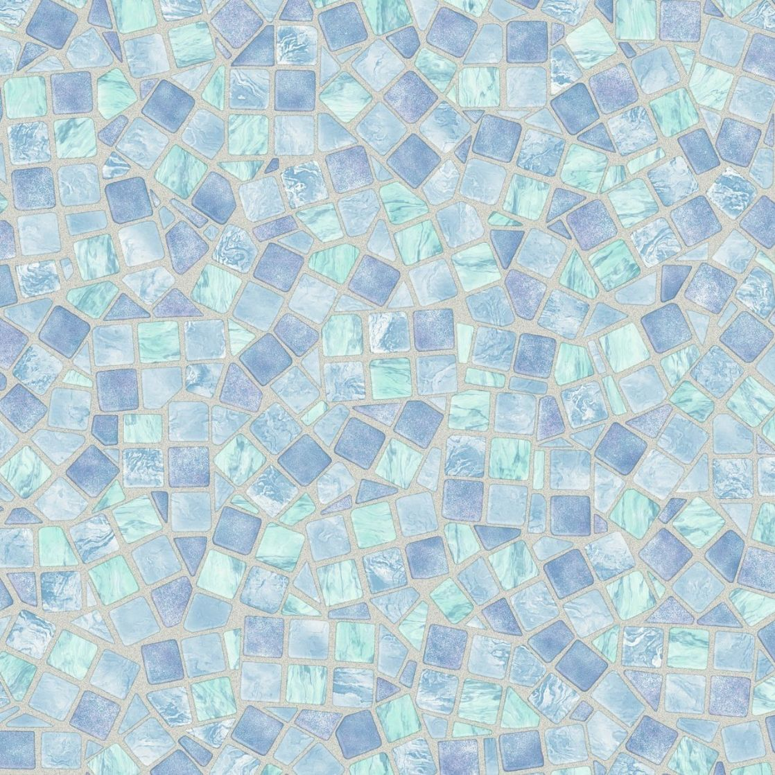 Light Blue Mosaic Tile Bathroom Wall Along With Corner
