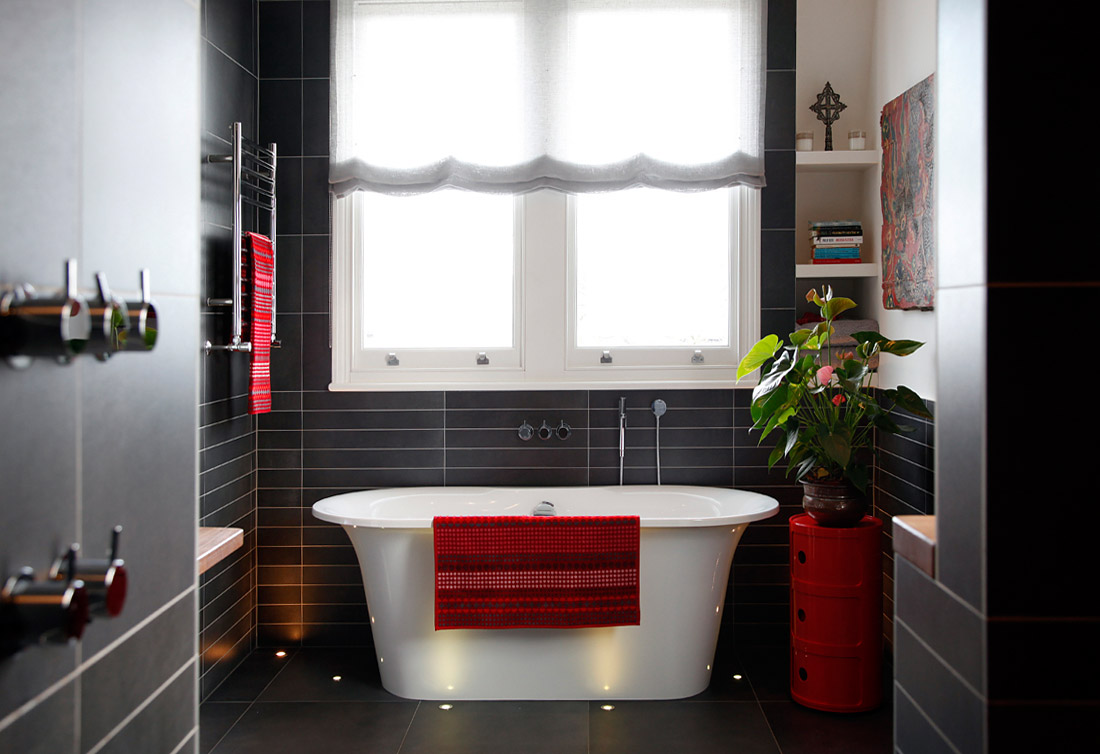 32 good ideas and pictures of modern bathroom tiles texture for Red accent bathroom