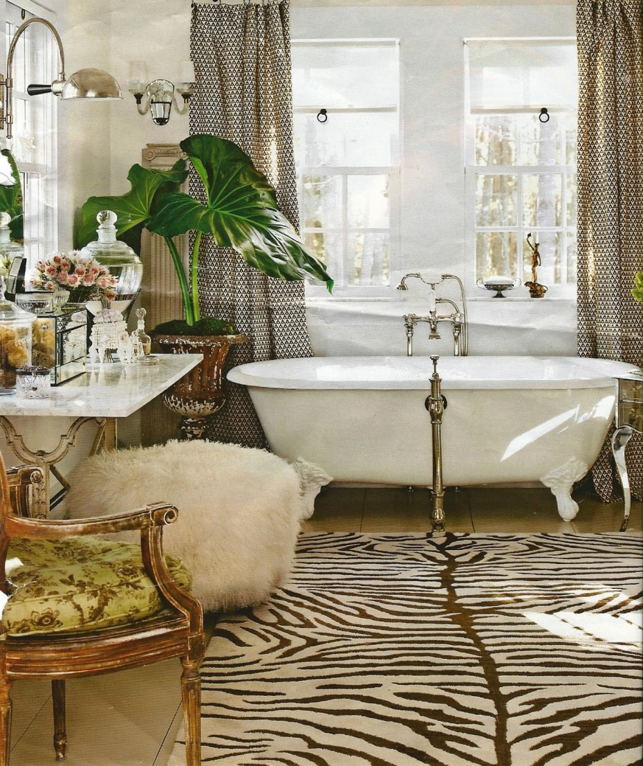 interior-divine-bathroom-decoration-using-white-clawfoot-bathtub-including-brown-zebra-rug-in-bathroom-and-bathroom-country-victorian-decorating-stunning-home-decoration-with-country-victorian-decora