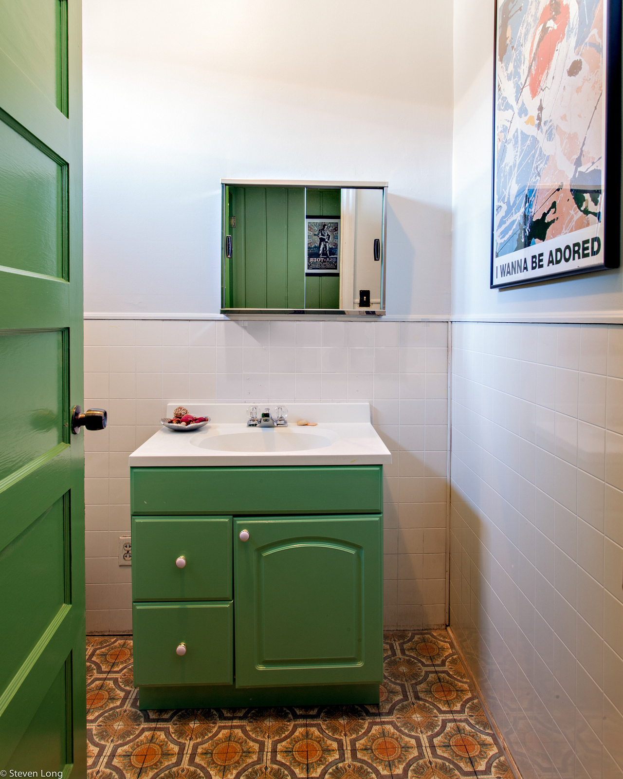 interior-white-sink-on-the-white-counter-top-placed-on-the-green-wooden-storage-and-drawers-placed-on-the-brown-tile-flooring-creating-exciting-look-through-vintage-bathroom-sinks