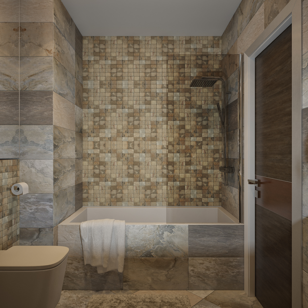 30 cool ideas and pictures of natural stone bathroom for Bathroom design ideas mosaic tiles