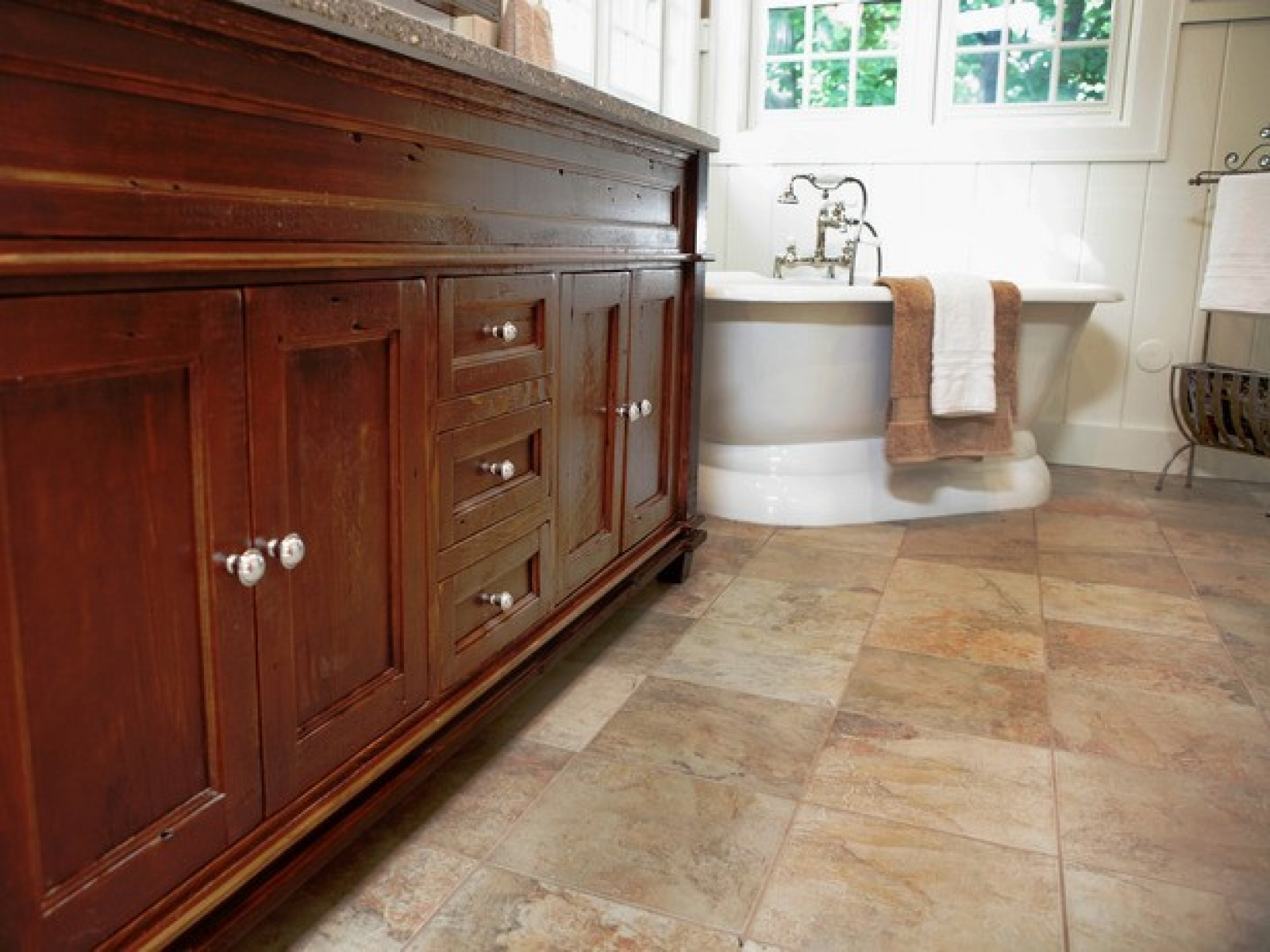 30 cool ideas and pictures of natural stone bathroom for Pictures of bathroom flooring ideas