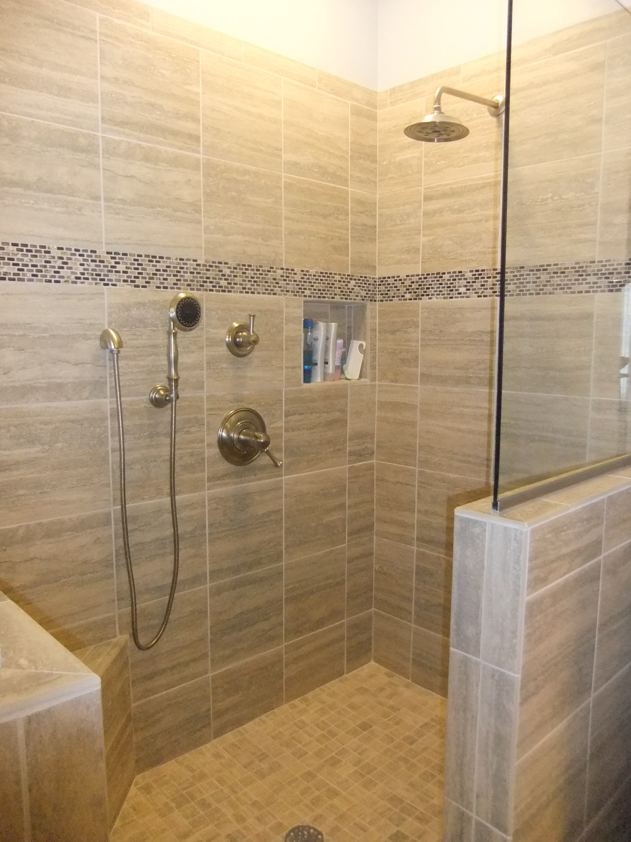 27 nice ideas and pictures of natural stone bathroom wall Walk in shower designs