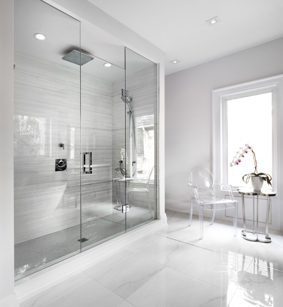 Porcelain Tile Shower Bathroom Contemporary With Acrylic Armchair