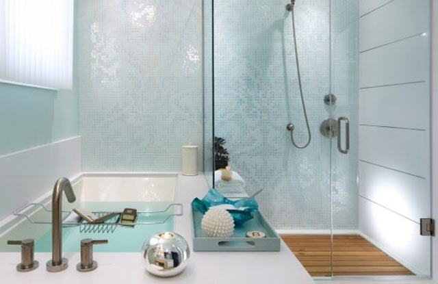 30 ideas of mosaic tile accents in a bathroom. Black Bedroom Furniture Sets. Home Design Ideas
