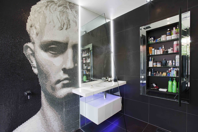 royston-wilson-design-minosa-design-bisazza-glass-mosaic-scooped-wash-basin-corian-custom-recessed-LED-mirror-ball-colour-change-melbourne-ovale-gessi-black-award-winning-020