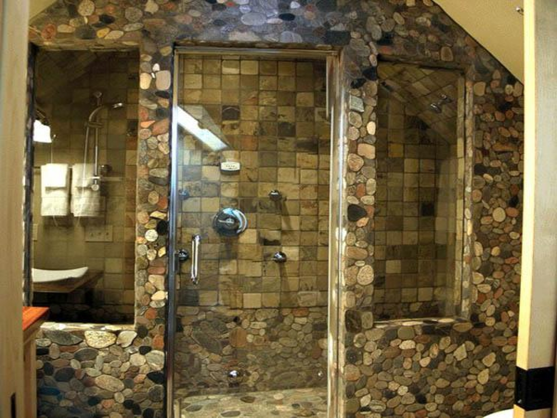 ... Shower Engaging Natural Stone Bathroom Floor With Natural  ...