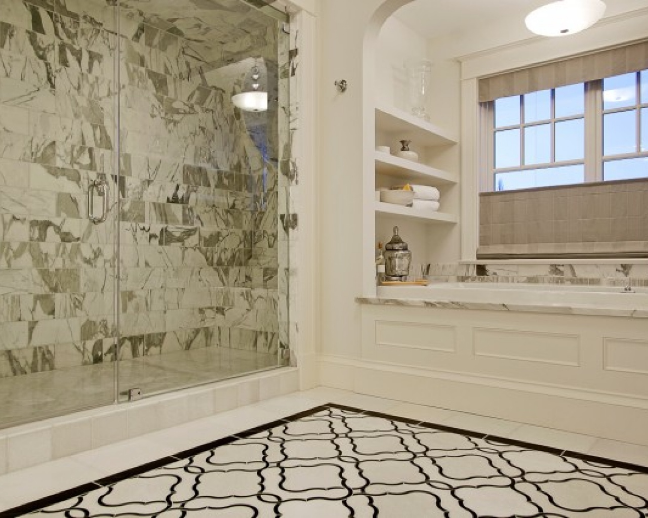 30 great pictures and ideas basketweave bathroom floor tile Bathroom design ideas with marble