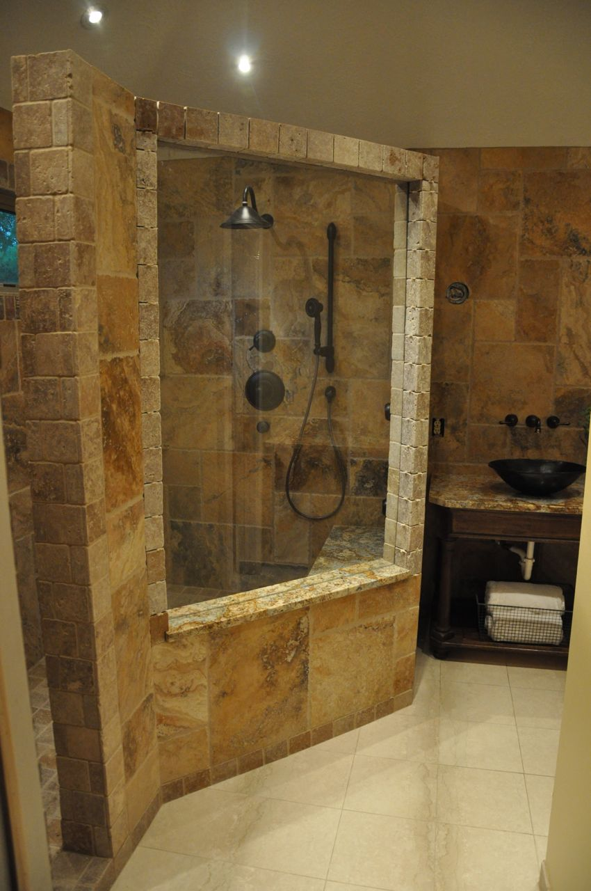 Natural Stone Wall Beautiful Bathroom Designs Glass Partition Sparkling Lights