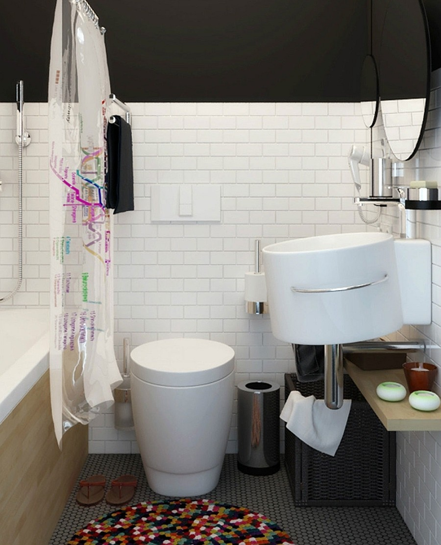 trendy-compact-bathroom-with-modern-plastic-shower-curtain-and-white-Round-Tankless-Toilet-also-white-tile-siding-and-grey-mosaic-tile-floor-design-ideas