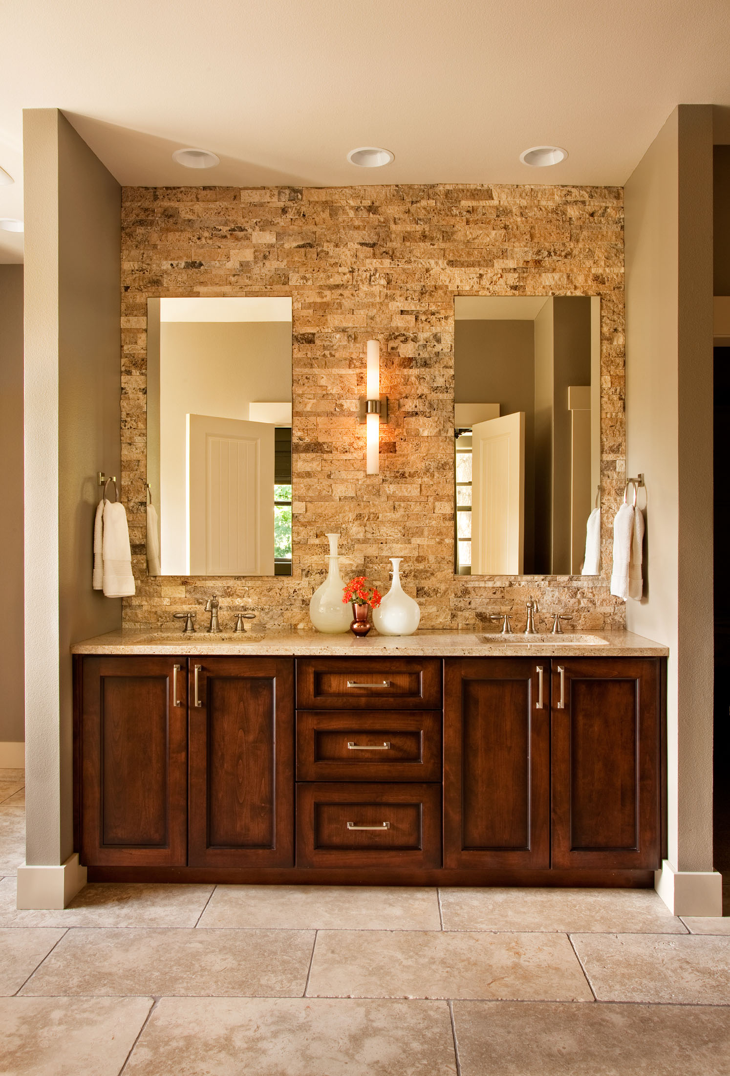 27 nice ideas and pictures of natural stone bathroom wall for Bathroom wall designs