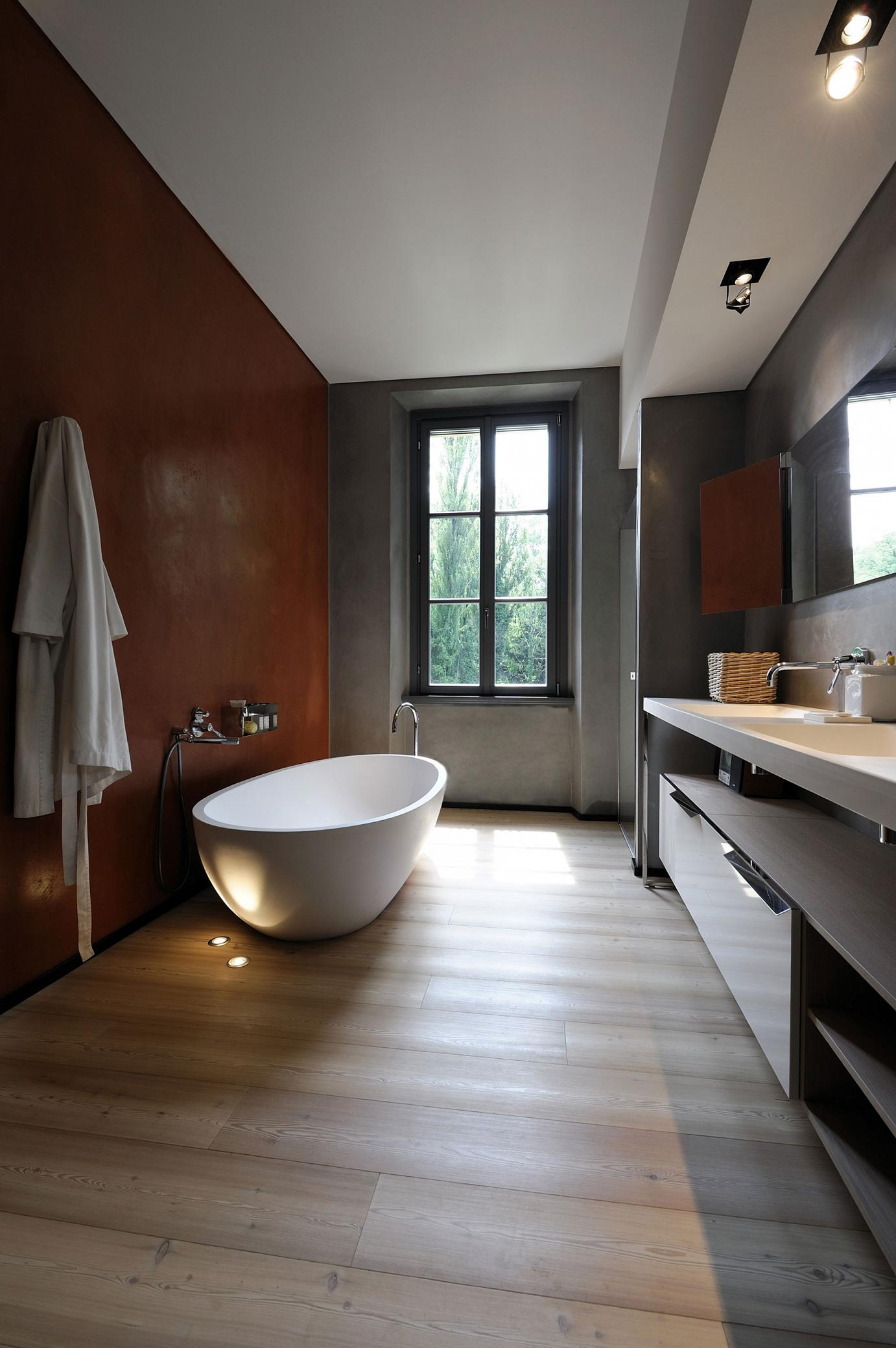 vintage-bathroom-renovation-ideas-with-wooden-flooring-tile-and-vanity-with-shelves