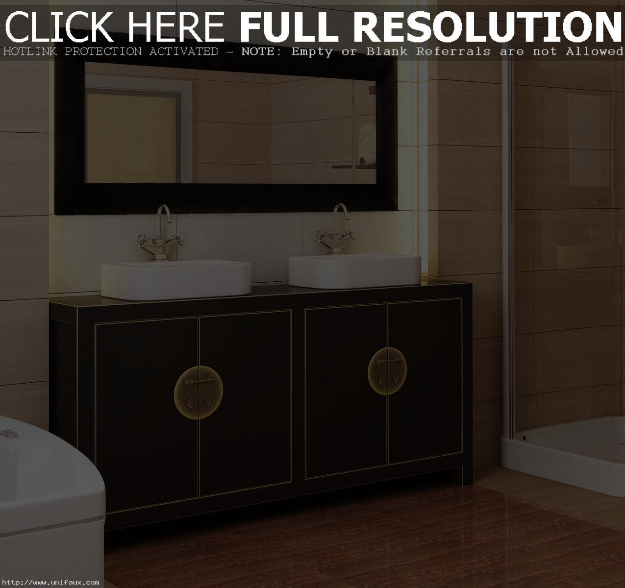 white-and-cream-tile-combine-vintage-bathroom-ideas-with-dark-wood-vanity-white-sink-on-laminate-wood-floor-in-fascinating-bathroom