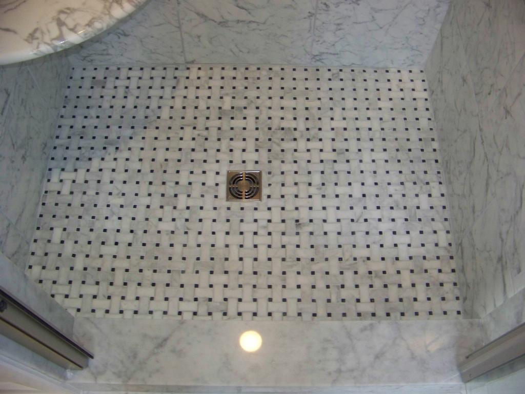white carrara bathroom mineola new york Porcelain Tile USA Floor Basketweave_full