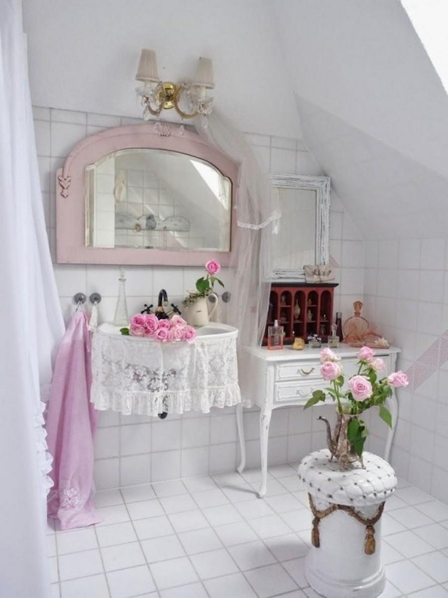 white-shabby-chic-bathroom-interior-decor-with-victorian-vanity-table-and-wall-mounted-sink-also-soft-pink-aged-mirror