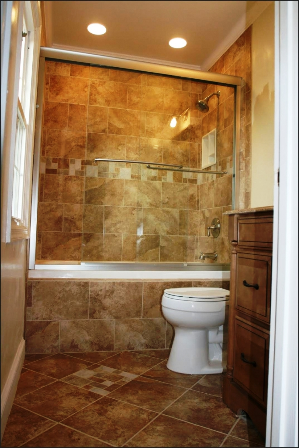 white-toilet-seat-also-drop-in-bathtub-or-small-ceiling-lighting-feat-brown-wooden-cabinets-plus-vintage-bathroom-tile-ideas-970x1451