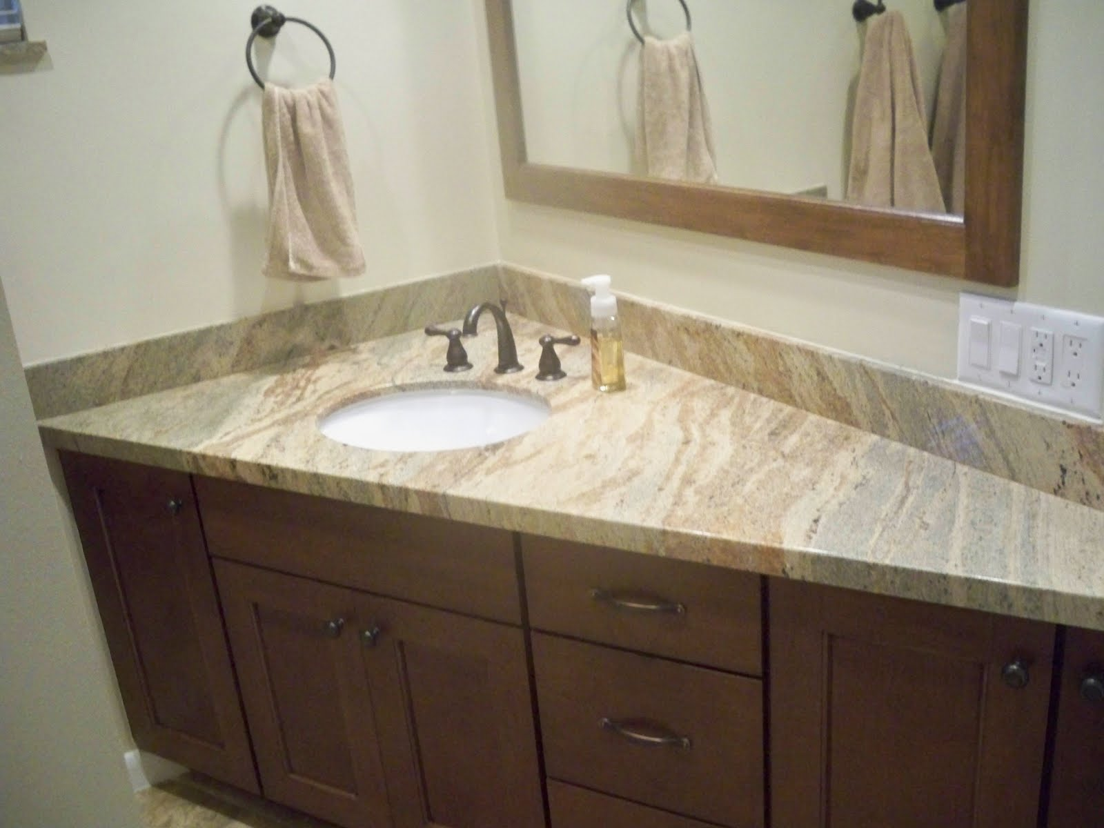 30 interesting bathroom countertop granite tile picture and ideas for Small bathroom countertop ideas