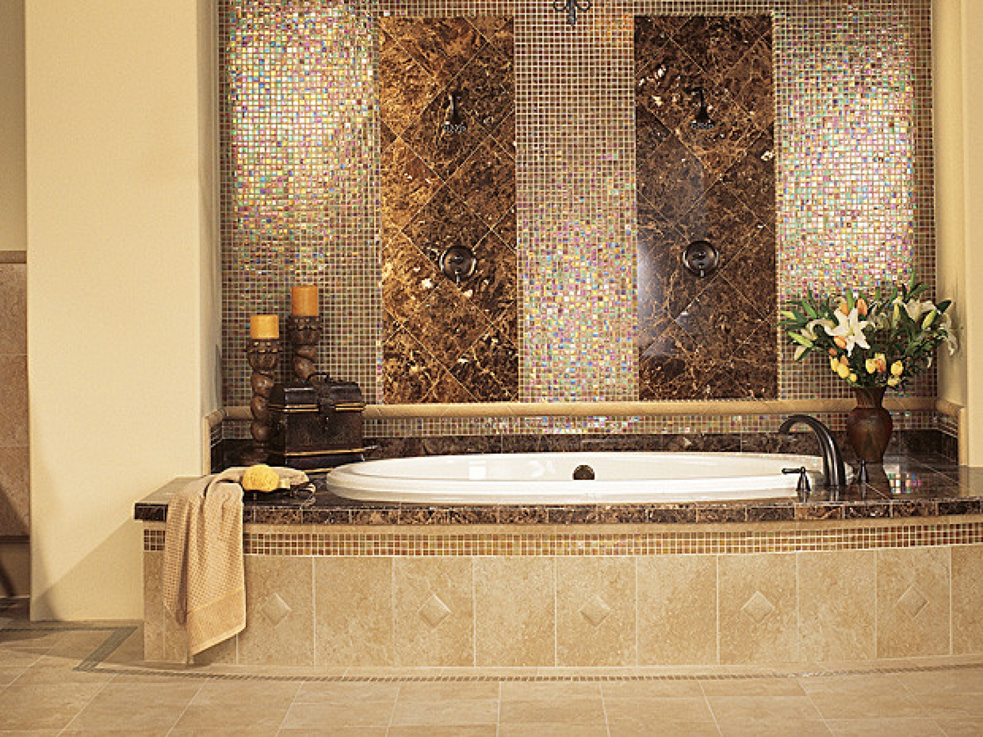25 wonderful pictures and ideas of gold bathroom wall tiles for Bathroom ideas black tiles