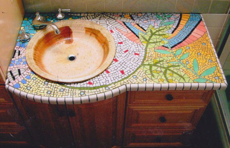 Mosaic bathroom countertop