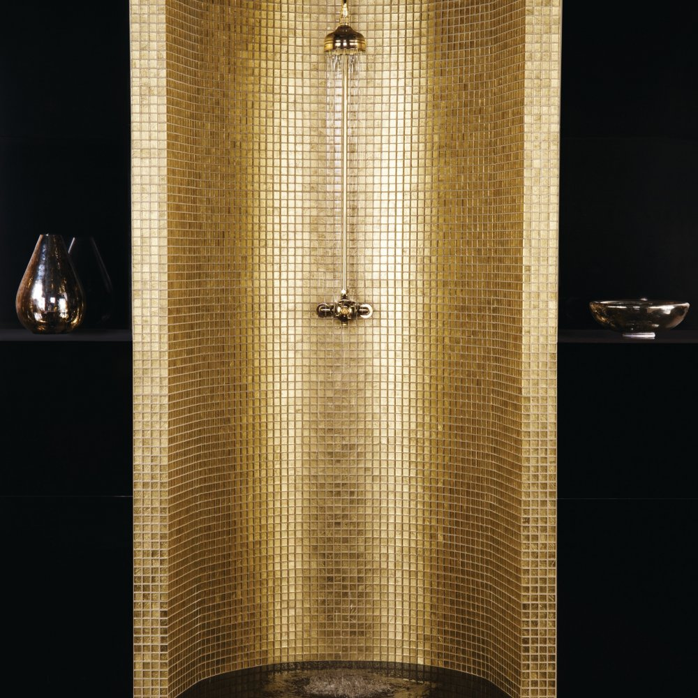 25 wonderful pictures and ideas of gold bathroom wall tiles for Gold mosaic bathroom accessories