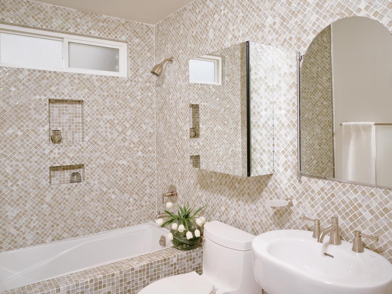 30 great pictures and ideas of neutral bathroom tile for Mosaic tile bathroom design