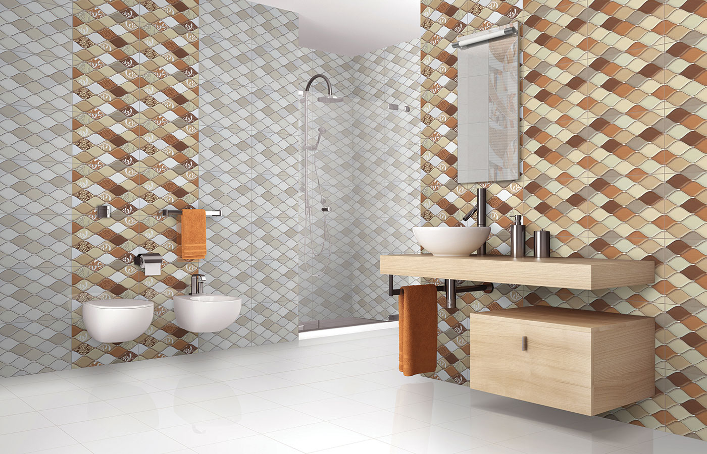 21 unique bathroom tile designs ideas and pictures for Cool floor tile designs