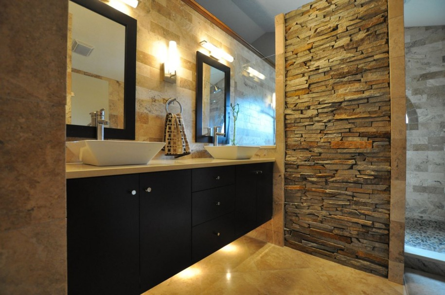 Awesome-Contemporary-Bathroom-Remodeling-Stone-Wall-Accent-Floating-Vanity-915x607