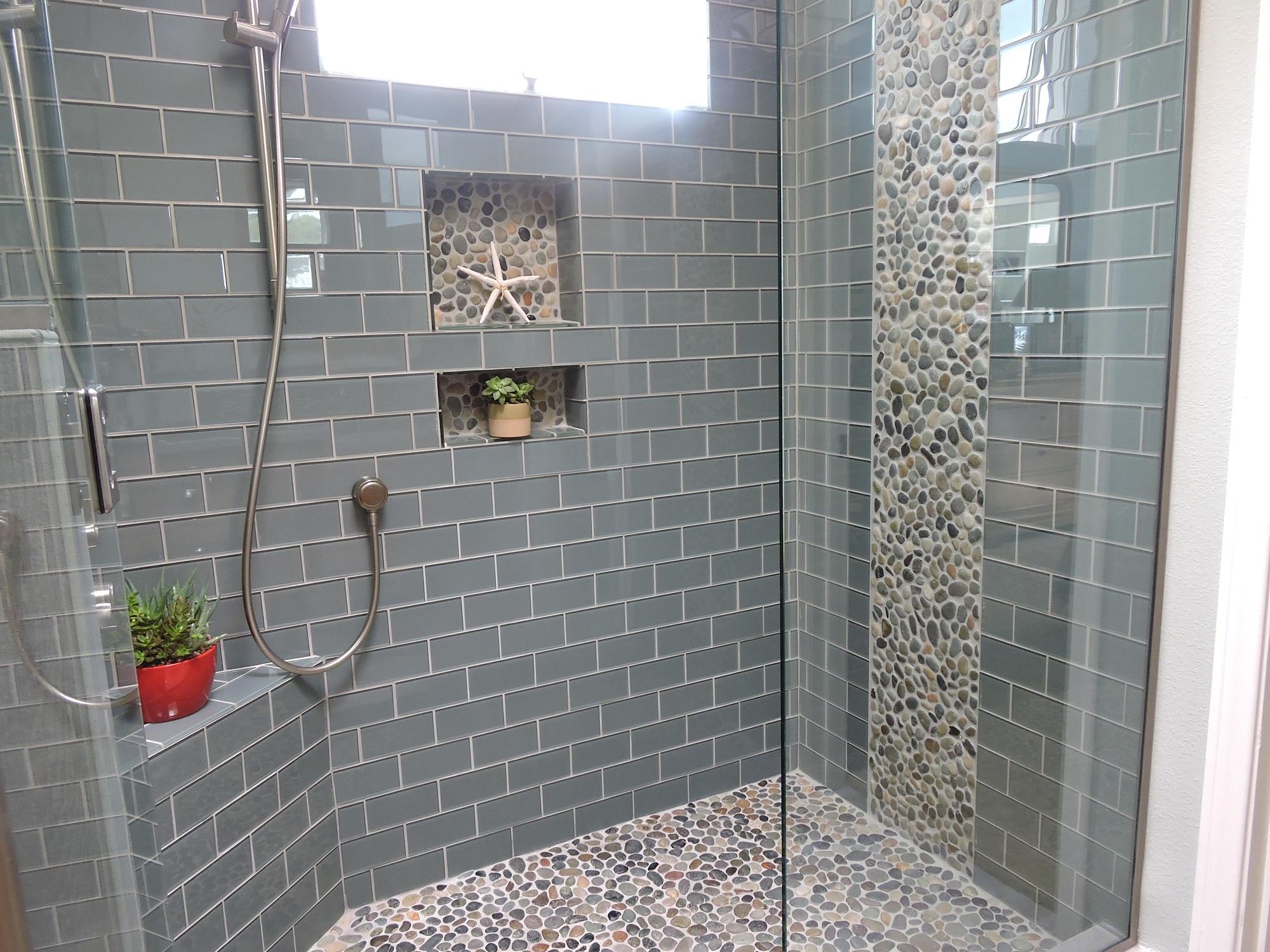 Pebble Floor Tile pebble grey floor tiles in a bathroom Bali Ocean Pebble Tile Shower Floor With Accents