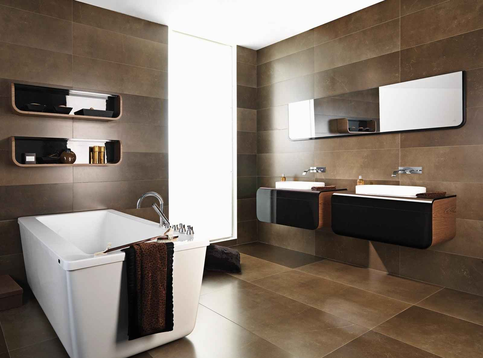 ... Durable Bathroom Ceramic Tile With Natural Stone Accent ...