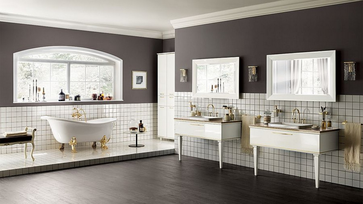 Exquisite-Italian-bathroom-with-golden-accent-details-and-white-wall-tile-also-gray-wall-paint-and-polished-concrete-floors